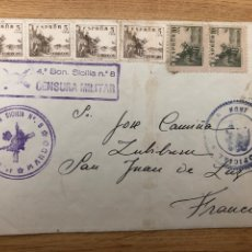 Sellos: 1939 MAYO. BATALLÓN MONTAÑA SICILIA 8 CENSURA Y MARCA. LLEGADA. Lote 245424200