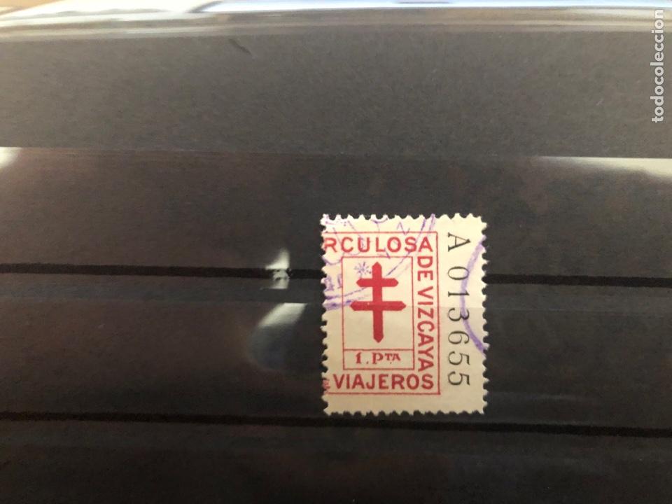 TUBERCULOSOS VIZCAYA 1 PTA (Sellos - España - Guerra Civil - Viñetas - Usados)