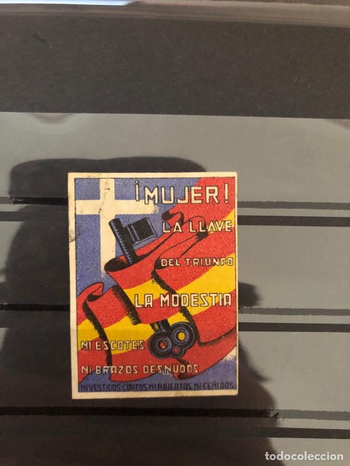 ALLEPUZ VIÑETAS DIVERSAS 30. MUJER LA LLAVE DEL TRIUNFO.... (Sellos - España - Guerra Civil - Viñetas - Usados)