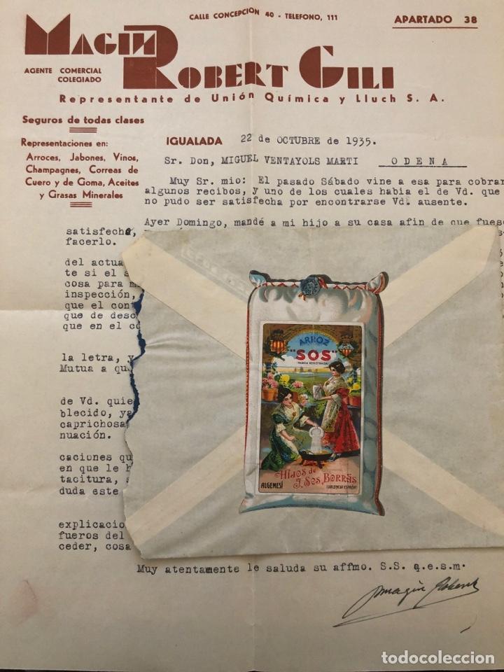 VIÑETA ENORME ARROZ SOS EN SOBRE CON CARTA (Sellos - España - Guerra Civil - Viñetas - Usados)