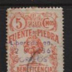 Sellos: FUENTE PIEDRA, 5 CTS,- BENEFICENCIA,- VER FOTO. Lote 245519045