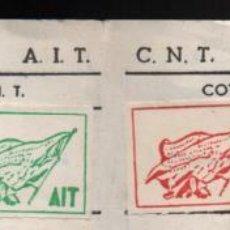 Sellos: C.N.T. A.I.T. HOJA DE COTIZACION, -EXILIO FRANCIA- 24 CUTAS + 2 VERDES Y 1 ROJA, VER FOTOS. Lote 245519865