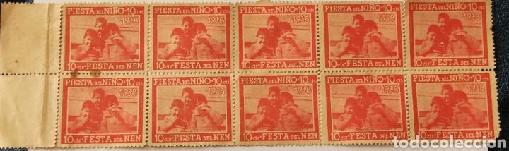GUERRA CIVIL HOJA CON 10 VIÑETAS FIESTA DEL NIÑO 1938 (Sellos - España - Guerra Civil - Viñetas - Nuevos)