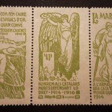Sellos: PRIMERA GUERRA MUNDIAL. CATALUNYA. 1914-1916. ** 5 DISTINTOS Y RAROS SELLOS CATALANISTAS EN TIRA.. Lote 245611990
