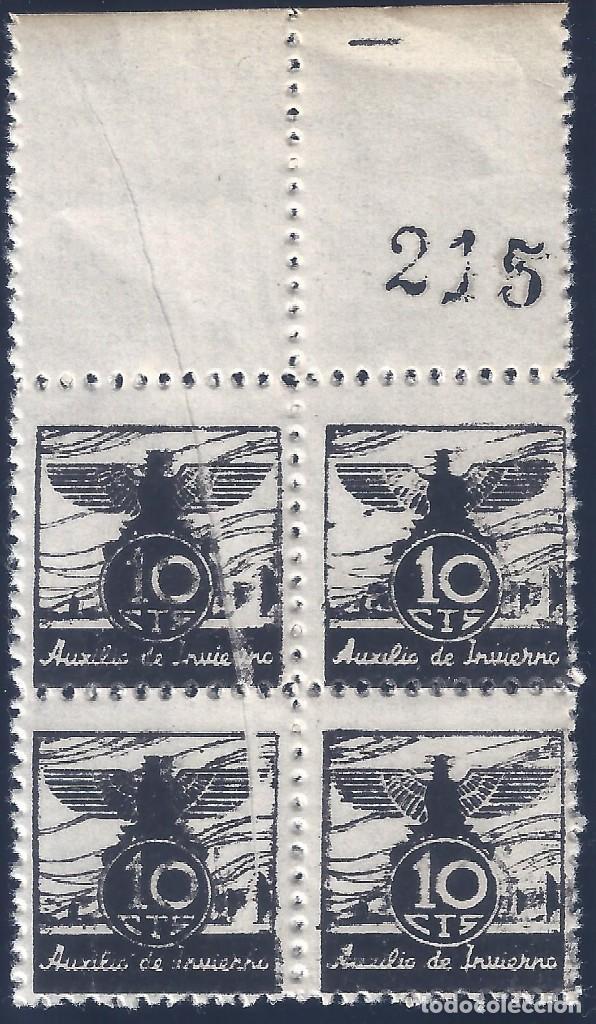 VIÑETA AUXILIO DE INVIERNO 1936 GÁLVEZ Nº 5 (BLOQUE DE 4) (VARIEDAD...FUELLE DIAGONAL). LUJO. MNH ** (Sellos - España - Guerra Civil - Viñetas - Nuevos)
