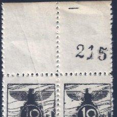 Sellos: VIÑETA AUXILIO DE INVIERNO 1936 GÁLVEZ Nº 5 (BLOQUE DE 4) (VARIEDAD...FUELLE DIAGONAL). LUJO. MNH **. Lote 245783055