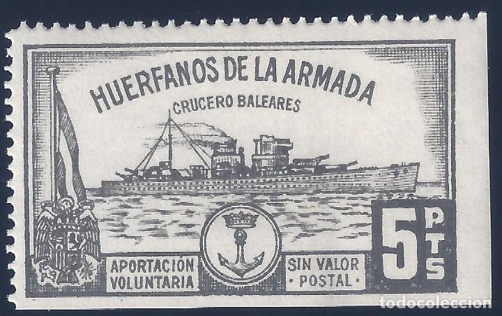 HUÉRFANOS DE LA ARMADA. CRUCERO BALEARES 5 PTS. (VARIEDAD...LATERAL SIN DENTADO). MNH ** (Sellos - España - Guerra Civil - Locales - Nuevos)