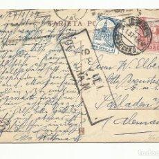 Sellos: POSTAL GRUTA D LAS MARAVILLAS CIRCULADA 1937 DE SEVILLA A ALEMANIA CON CENSURA MILITAR Y SELLO LOCAL. Lote 245949970