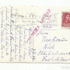 Sellos: POSTAL CIRCULADA 1938 D SANTA CRUZ DE TENERIFE A KIEL ALEMANIA CON CENSURA MILITAR Y RODILLO CLIMA. Lote 245950645