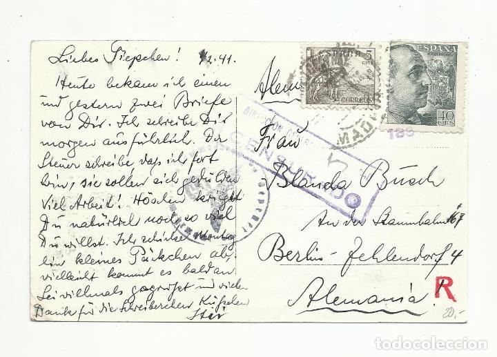POSTAL CIRCULADA 1941 DEL RETIRO DE MADRID A BERLIN ALEMANIA CON CENSURA NAZI (Sellos - España - Guerra Civil - Locales - Cartas)