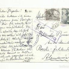 Sellos: POSTAL CIRCULADA 1941 DEL RETIRO DE MADRID A BERLIN ALEMANIA CON CENSURA NAZI. Lote 245965240