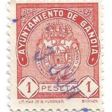 Sellos: AYUNTAMIENTO DE GANDÍA. 1 PESETA. SELLO MUNICIPAL.. Lote 246012050