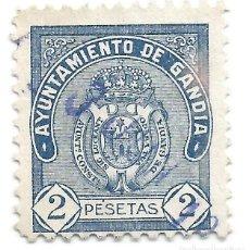 Sellos: AYUNTAMIENTO DE GANDÍA. 2 PESETAS SELLO MUNICIPAL.. Lote 246012160