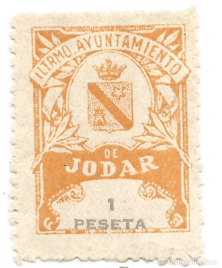 ILUSTRÍSIMO AYUNTAMIENTO DE JODAR 1 PESETA. JAEN. SELLO MUNICIPAL. (Sellos - España - Guerra Civil - Locales - Usados)