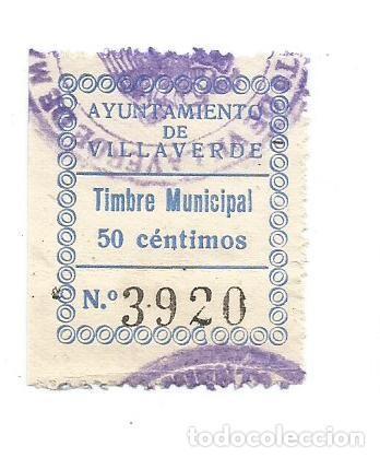 AYUNTAMIENTO DE VILLAVERDE. TIMBRE MUNICIPAL 50CTS. SELLO MUNICIPAL. (Sellos - España - Guerra Civil - Locales - Usados)