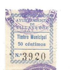Sellos: AYUNTAMIENTO DE VILLAVERDE. TIMBRE MUNICIPAL 50CTS. SELLO MUNICIPAL.. Lote 246016780