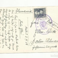 Sellos: POSTAL CIRCULADA 1939 DEL RETIRO DE MADRID A BERLIN ALEMANIA CON CENSURA MILITAR. Lote 246034580
