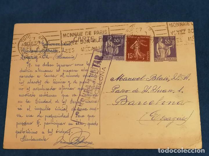 ESPAÑA GUERRA CIVIL CARTA CENSURA MILITAR FRANCIA BARCELONA 22 DE FEBRERO 1939 (Sellos - España - Guerra Civil - De 1.936 a 1.939 - Cartas)