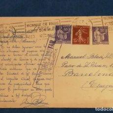 Sellos: ESPAÑA GUERRA CIVIL CARTA CENSURA MILITAR FRANCIA BARCELONA 22 DE FEBRERO 1939. Lote 246113760