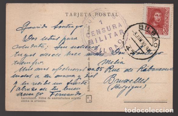 POSTAL- NIDO DE AMETRALLADORA OCULTO CONTRA LA AVIACION,- C.M. BILBAO, VER FOTO (Sellos - España - Guerra Civil - Locales - Usados)
