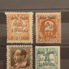 Sellos: AÑO 1937 EMISION LOCAL PATRIÓTICA MALAGA LIBERADA 4 SELLOS NUEVOS. Lote 262484675