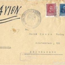 Sellos: 1938 CARTA CERTIFICADO SALAMANCA A ALEMANIA. GUERRA CIVIL. CORREO AÉREO. CENSURA CUARTEL GENERAL. Lote 247165475