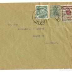 Sellos: 1937 CARTA GUERRA CIVIL. CÁDIZ. FRANQUEO ESPECIAL MÓVIL + HABILITADO + BENEFICENCIA. Lote 247200450