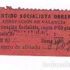 Sellos: VIÑETA PARTIDO SOCIALISTA OBRERO AGRUPACIÓN DE VALENCIA - CIRCULO DE UNIVERSIDAD 193... Lote 248491840