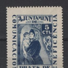 Sellos: TV_003/ VIÑETA Nº 1, AJUNTAMEN PRATS DE LLUCANES, 5 CENTIMOS AZUL. Lote 249282180