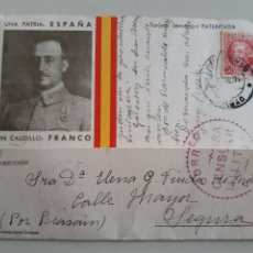 Timbres: TARJETA CON IMAGEN D FRANCO SELLO REPUBLICA ESPAÑOLA JULIO 1937 ENVIADA DESDE BILBAO CENSURA MILITAR. Lote 251162905