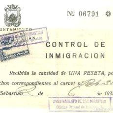 Sellos: C3.-SAN SEBASTIAN, CONTROL DE INMIGRACION, JUNIO 1937, VIÑETA CRUZADA CONTRA EL FRIO-GUERRA CIVIL. Lote 251936135