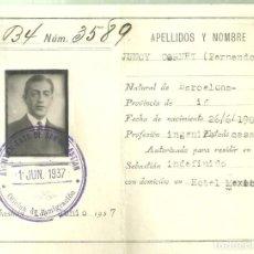 Sellos: C3.-SAN SEBASTIAN, CONTROL DE INMIGRACION, JUNIO 1937-CARNET SALVOCONDUCTO-CARNET-GUERRA CIVIL. Lote 251937190
