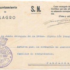 Sellos: NAVARRA. FRONTAL DE ENVIO OFICIAL ENVIADO POR LA ALCALDIA DE MILAGRO A PAMPLONA 1937. Lote 252312265
