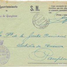 Sellos: NAVARRA. FRONTAL ENVIADO POR EL AYUNTAMIENTO DE SADA DE SANGUESA A PAMPLONA 1937. Lote 252313970