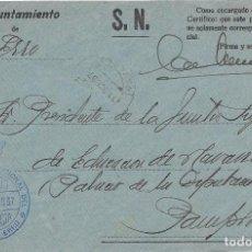 Sellos: NAVARRA. FRONTAL ENVIADO POR EL AYUNTAMIENTO DEL VALLE DE ERRO A PAMPLONA 1937. Lote 252314890