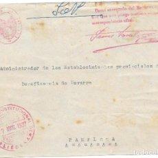 Sellos: NAVARRA. FRONTAL ENVIADO POR EL AYUNTAMIENTO DE LIEDANA A PAMPLONA 1937. Lote 252315325