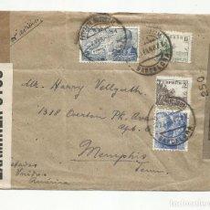 Sellos: CIRCULADA 1942 DE BARCELONA A MEMPHIS USA CON CENSURA MILITAR. Lote 252322715