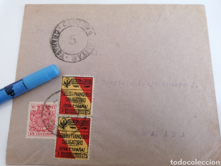 GRANADA. CENSURA MILITAR, 2 BENEFICOS, BONITO CONJUNTO. 1937 (Sellos - España - Guerra Civil - De 1.936 a 1.939 - Cartas)
