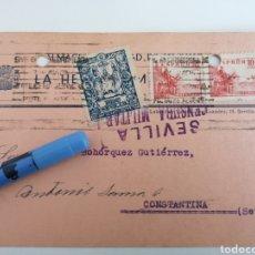 Sellos: SEVILLA. ALMACENES CIUDAD DE SEVILLA. POSTAL A CONSTANTINA. 1939. CENSURA MILITAR Y BENEFICO. Lote 252414880
