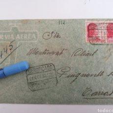 Sellos: CORREO DE CAMPAÑA. POR VIA AEREA. BASE TRANSMISIONES A TARRASA. OCT. 1938. CENSURA BASE. Lote 252415900