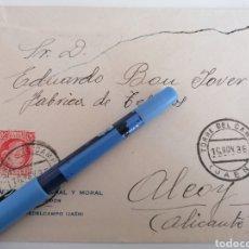 Sellos: TORREDELCAMPO. JAEN. NOV. 1936, SEBASTIANA MORAL Y MORAL, CARTA COMERCIAL A ALCOY. ALICANTE.. Lote 252416020