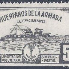 Sellos: HUÉRFANOS DE LA ARMADA. CRUCERO BALEARES 5 PTS. (VARIEDAD...LATERAL DERECHO SIN DENTADO). MNH **. Lote 252921170