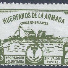Sellos: HUÉRFANOS DE LA ARMADA. CRUCERO BALEARES 25 PTS. ESCASO. MNH **. Lote 252923580