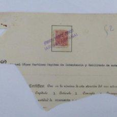 Sellos: TROZO DE DOCUMENTO CON SELLO ESPECIAL MOVIL DE 25 CENTIMOS DE LA REPUBLICA CON RESELLO DE FRANCO. Lote 252982700
