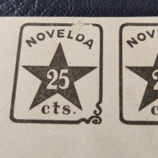 Sellos: GUERRA CIVIL PAREJA VIÑETAS NOVELDA 25 CTS NEGRO PRUEBA. Lote 253157220