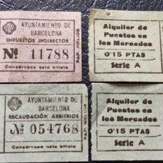 Sellos: GUERRA CIVIL 4 BILLETES ARBITRIOS AYUNTAMIENTO DE BARCELONA. Lote 253182715