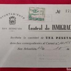 Sellos: SAN SEBASTIAN CONTROL DE INMIGRACIÓN. CRUZADA CONTRA EL FRIO 10 CTS. Lote 253326905
