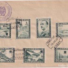 Sellos: BILBAO. 1937 19 JUNIO 1938. SOBRE CON 8 VALORES EN AZUL. 3 FECHADORES PRIMER DÍA Y CENSURA MILITAR D. Lote 253430315