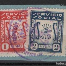 Sellos: TV_003/ SERVICIO SOCIAL - 1 Y 2 PESETAS - GUERRA CIVIL. Lote 253490665