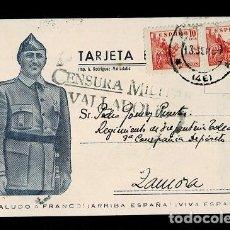 Francobolli: C-CN-111 GUERRA CIVIL TARJETA POSTAL CON EFIGIE DE FRANCO CIRCULADA DE VALLADOLID A ZAMORA CON CENSU. Lote 253811175
